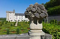 Stone fruit bowl overlooking Ornamental Garden at Chateau de Villandry, Loire Valley, France