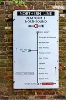Vintage Northern Line Tube Map in contemporary garden in Highgate,  London. Garden designed by Peter Reader Landscapes.