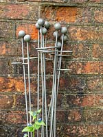 Plant supports ready for use on tall perennials