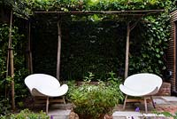 Two modern chairs in secluded courtyard, surrounded by formal trained trees.
