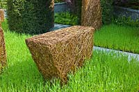 Woven willow structure withBarley. Stockton Drilling's 'As Nature Intended' garden, RHS Chelsea Flower Show