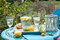 Garden table laid with tray, glasses and jug containing refreshing drink with lemon and lemon verbena.