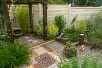 Small patio style garden with hard landscaping in different materials.