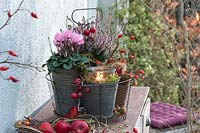 Lantern in wire basket