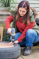 Woman using drill to make holes in hardwood base of tyre planter.