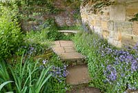 Paved Garden with stone walls