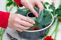 Woman adding blue pine to bundt cake tin.