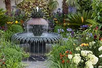 Pineapple water feature in The Charleston Garden, Hampton Court Palace Flower Show, 2017