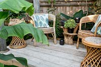 Bamboo furniture in exotic garden