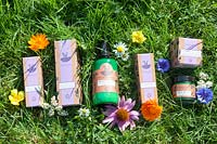 Mixed products offered to consumers by Herbfarmacy, Eardisley, Herefordshire, UK