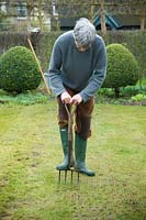 Man aerating lawn with garden fork.
