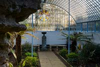 Inside grotto and fernery, looking towards glass sides and roof