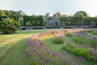 View of labyrinth planted with alliums. Arundel Castle, West Sussex, UK.