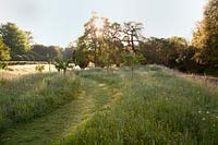Mown path through naturalised meadow. Arundel Castle, West Sussex, UK.