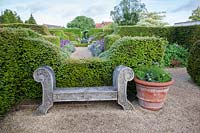Wooden seat next to clipped yew hedge in formal garden