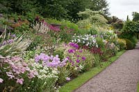Flowering perennial border at Wollerton Old Hall, Shropshire, UK.