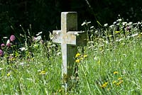 Country church yard with wild flowers.
