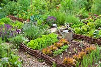View of rustic vegetable garden.