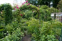 An ornamental kitchen garden with a rose arch over path
