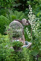 A bird cage with plants displayed on a wooden chair with other collectables, all set in a garden