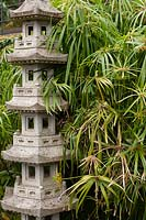 Highly decorative Japanese pagoda next to papyrus in the Southern Oriental garden. Monte Palace Tropical Garden, Portugal.