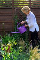 Garden designer Julianne Fernandez watering various pots, including Agapanthus, Nicotiana and Salvia  next to the barn.