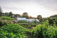 View across the kitchen garden to the greenhouse at Batcombe House, Somerset, UK.
