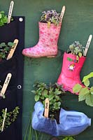 'My Space in Space', school garden with children's pink and starry wellie or 