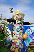 'My Space in Space', school garden scarecrow with patchwork coat made of 