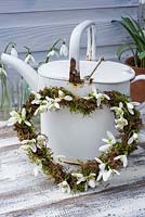 Mossed heart-shaped wreath decorated with Galanthus flowers - Snowdrops - leaning against white, rusty watering can.