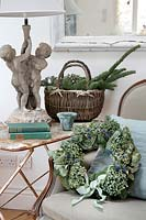 Natural blue and green Hydrangea Christmas wreath in vintage home setting