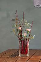 Modern floral arrangement on table, using Cornus stems, Dianthus - Carnations, Eucalyptus and Gypsophila.