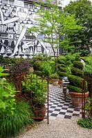 Garden of the Anders Hotel on the Prinsengracht canal, Amsterdam, The Netherlands. Designed by industrial designer Marcel Wanders who also designed the hotel.