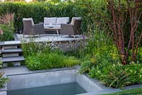 A small contemporary courtyard blends hard landscaping and a still pool with beds of wildlife friendly planting to create a calm, relaxing space. APL A Place to Meet, designed by Cherry Carmen, RHS Hampton Court Palace Garden Festival, 2019.