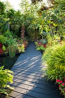 Path by the pond surrounded by Hakonechloa, Equisetum hyemale - Rough horsetail, Impatiens, palms and bamboo. B and Q Bursting Busy Lizzie Garden at  RHS Hampton Court Palace Garden Festival Show 2018
