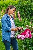 Woman with basket of newly picked Paeonia - Peonies