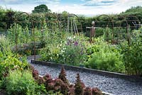 A rusted iron pergola covers a path leading between the raised beds of vegetables, fruit  and flowers in a vegetable parterre. Sweet peas - Lathyrus odoratus clamber up a cane wigwam.