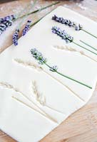 Salt dough showing impressions of pressed lavender flowers once removed
