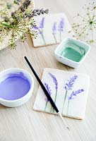 Salt dough tiles with paint to fill the lavender flower impressions