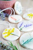 Gift tags made with salt dough - painted with flower designs
