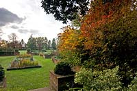 Formal gardens showing seasonal colour at Easton lodge, Essex, UK.