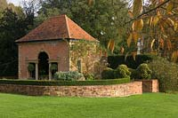 Formal building and garden at Easton Lodge, Essex, UK.