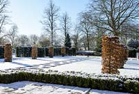 Carpinus betulus - Hornbeam pillars, Taxus baccata - yew hedge with stone paving, Fagus sylvatica f. purpurea - large copper beech and Buxus - box hedging . Snow in January.
