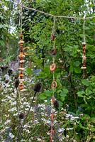 Hanging decorations made from nuts and fruit - The BBC Springwatch Garden, RHS Hampton Court Palace Flower Festival 2019