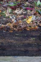 Cross section of a compost heap showing layers of well matured compost to freshly placed decomposing material