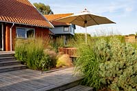 Meadow garden in Aldeburgh, Suffolk. Decked patio area with wooden table with parasol and chairs. Herbaceous border planting includes: Panicum virgatum - Heavy Metal, Molinia caerulea subsp. arundinacea - Transparent, Stipa tenuissima.