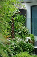 Detail of a lush green garden with a raised garden and a variety plants, with an upright decorative rusty steel I beam with a Madagascar jasmine vine growing up it and featuring Australian native violet, Renga Lily, Philodendron Xanadu, Silver Lady Fern, and Slender weavers bamboo.