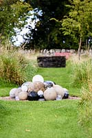 'A Load of Balls', a witty amalgamation of spheres in various materials at Broadwoodside, Gifford, East Lothian.