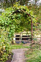 Path leading to a vine covered metal archway