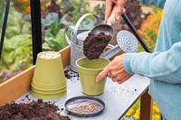 Woman adding compost to pot ready for sowing